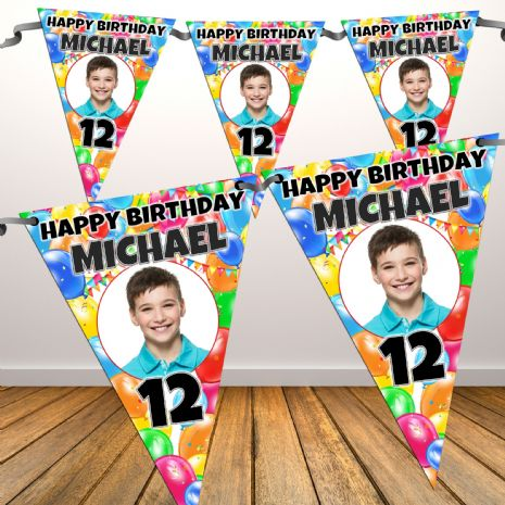 Personalised Balloons Happy Birthday Flag PHOTO Bunting Banner - N77 ANY AGE